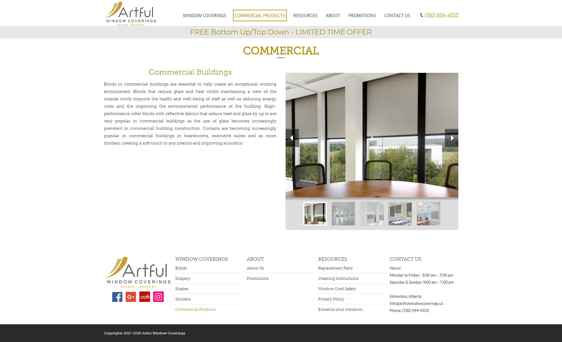 Commercial Window Covering Website Design | Byteknight Creations